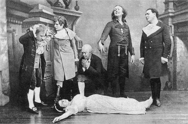 """Un momento de la representación original de """"Los cuentos de Hoffmann"""" (1881)"""