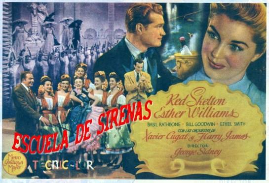 """Cartel publicitario de la versión española de """"Escuela de sirenas"""" (1944)"""