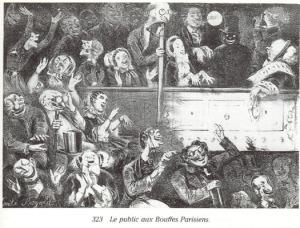 El público en el Théâtre des Bouffes Parisiens (ca. 1860)