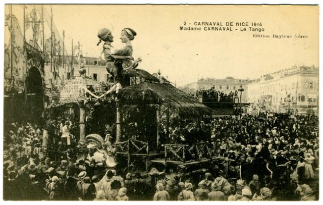 Carnaval de Niza de 1914. Carroza de Madame Carnaval dedicada al tango. Colección D. Lescarret ©