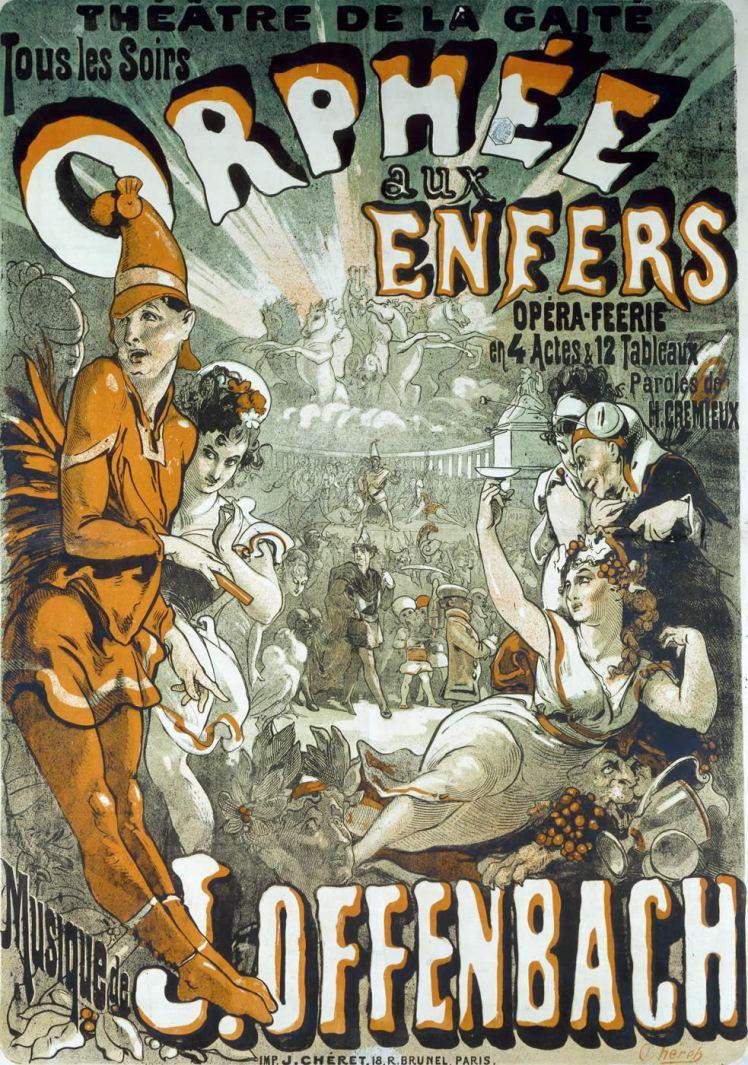 """Cartel anunciador de la versión de 1874 de """"Orfeo en los infiernos"""", de Jules Chéret"""