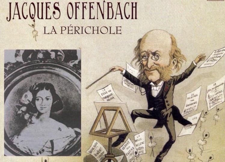 Caricatura de Jacques Offenbach. A la izquierda, supuesto retrato de La Perricholi