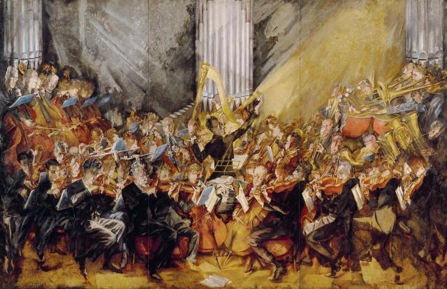 """Die Philharmoniker"" (1935-1940), óleo de Max Oppenheimer"