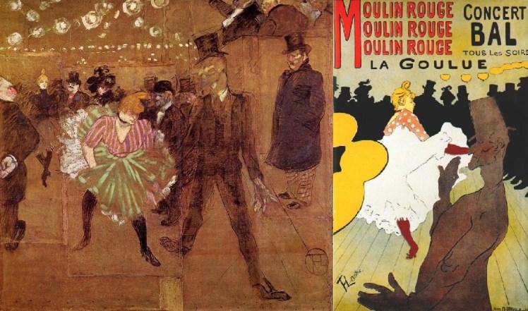 """Izquierda: """"La Goulue y Valentin le Desossé"""" (1895), óleo de Toulouse-Lautrec. Derecha: Cartel de Toulouse-Lautrec."""
