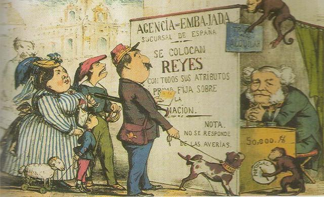 """Caricatura de la revista satírica """"La Flaca"""" (1869): Isabel II, con su familia y el pretendiente, 'buscando trabajo'"""