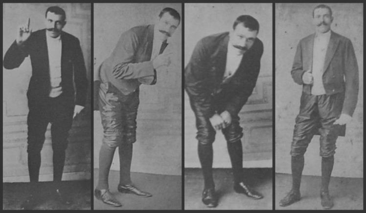 Le Pétomane en diversos momentos de una de sus actuaciones en el Moulin Rouge.