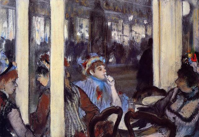 Mujeres en la terraza de un café por la noche. Edgar Degas (1877)