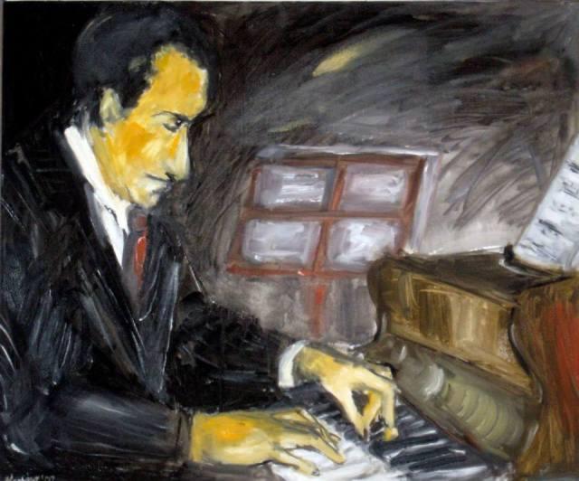 George Gershwin (lienzo de Shoshana Kertesz)