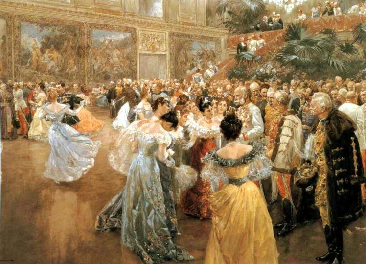 Baile de la Corte en Viena (1900). Acuarela de Wilhelm Gause.