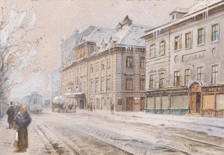 Theater an der Wien de Viena, principal escenario de la opereta vienesa, en 1900, poco antes de la remodelación que le daría su aspecto actual. Acuarela de Carl Wenzel Zajicek.