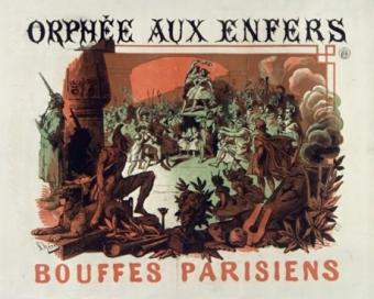 """Afiche de Jules Chéret de 1858 para """"Orfeo en los infiernos""""."""