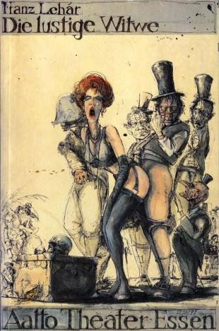 """Cartel de """"La viuda alegre"""" para la producción del Aalto Theater de Essen (Alemania) de la temporada 1990-1991."""