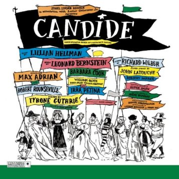 """Cartel del estreno de """"Candide"""" reproducido en la grabación de 1963."""