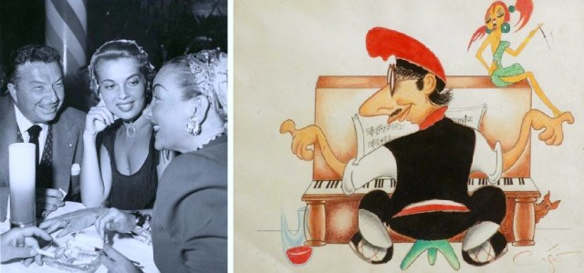 Izquierda: Xavier Cugat, Abbe Lane y Carmen Miranda en 1953. / Derecha: Autocaricatura de Xavier Cugat.