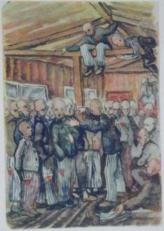 """Dibujo realizado por Vladimir Matejka en 1942 en Dachau que muestra un coro ensayando. Publicado en el libro de Inge Lammel """"Kopf hoch, Kamerad! Künstlerische Dokumente aus faschistischen Konzentrationslagern"""" (1966)."""