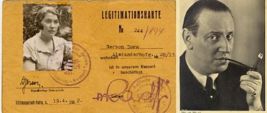 Tarjeta de identificación de Dora Gerson del gueto de Łódź. A la derecha, Max Ehrlich.