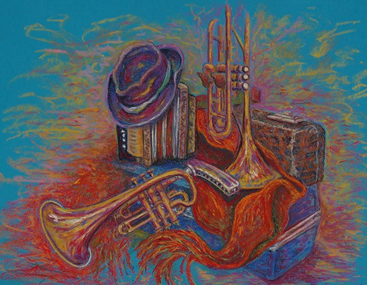 """Music, Music, Music"" (2010), acrílico sobre lienzo de Joan Applebaum."
