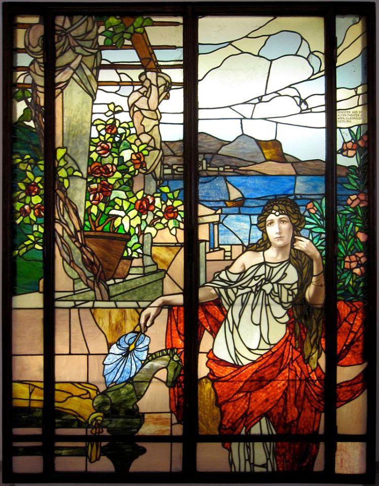 Vidriera elaborada en la fábrica Carl Geyling's Erben de Viena alrededor de 1900 para el antiguo Theater an der Wien.