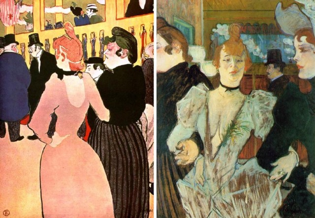 """Izquierda: """"La Goulue y Môme Fromage en el Moulin Rouge"""" (1892), litografía. Derecha: """"La Goulue en el Moulin Rouge"""" (1892), óleo sobre cartón."""
