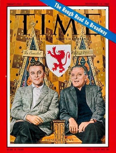 """Alan Jay Lerner (izquierda) y Frederick Loewe en la portada de la revista """"Time"""" (noviembre de 1960)"""