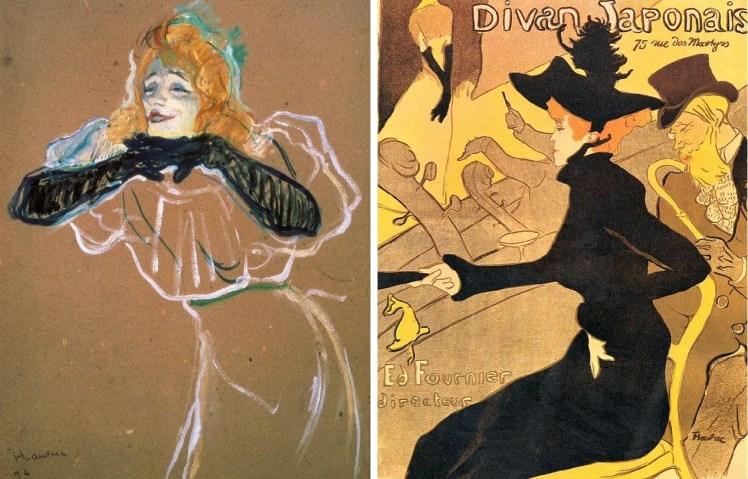 """Izquierda: """"Yvette Guilbert"""" (1894) cuando actuaba en el Divan, óleo sobre cartón. Derecha: """"Jane Avril en el Jardin de Paris"""" (1893), litografía."""