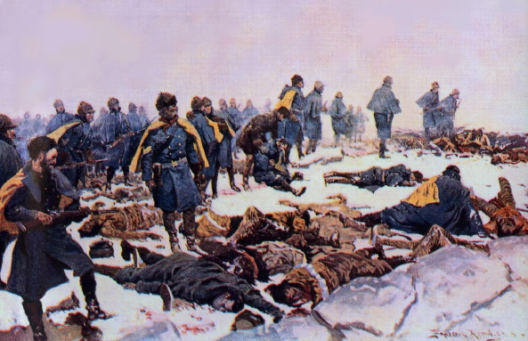 After the final battle at The Pit. Painting by Frederic Remington, 1897