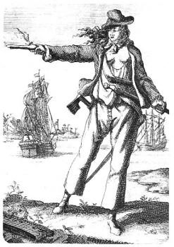 Anne Bonny en una ilustración del libro de Charles Johnson.