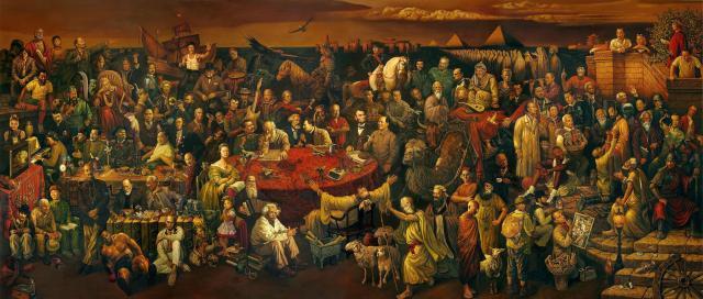"""""""Discutiendo la Divina Comedia con Dante"""" (2006), óleo de Dai Dudu, Li Tiezi y Zhang An."""