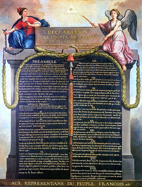 """""""Declaración de los Derechos del Hombre y del Ciudadano"""", pintada por Jean-Jacques-François Le Barbier en 1789."""