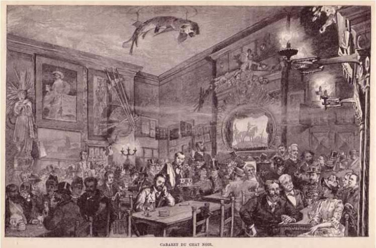 El primer piso de Le Chat Noir de la calle Victor Massé, donde se proyectaba el famoso teatro de sombras.