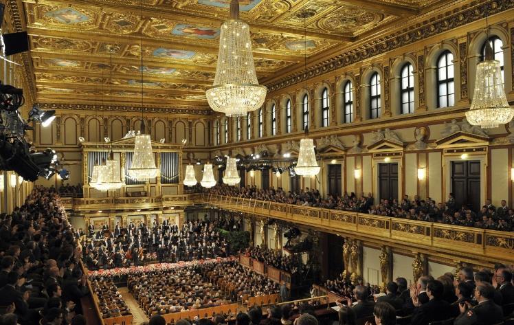 Ensayo de la Orquesta Filarmónica de Viena para el Concierto de Año Nuevo de 2014 en el Musikverein (30 de diciembre de 2013).
