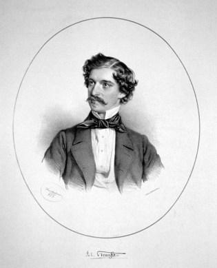 Johann Strauss en 1853. Litografía de Joseph Kriehuber.