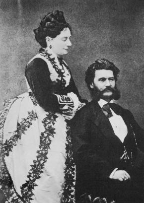 Johann Strauss y su esposa Henriette.