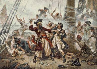 Pintura de Jean Leon Gerome Ferris (1863-1930) que interpreta la batalla entre Barbanegra y el teniente Robert Maynard.
