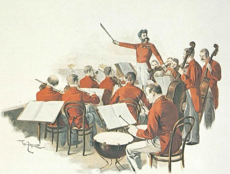 """""""Baile en la Corte"""" (1888), dibujo de Theo Zasche en el que vemos a Johann Strauss como director de música de baile de la corte de Viena."""