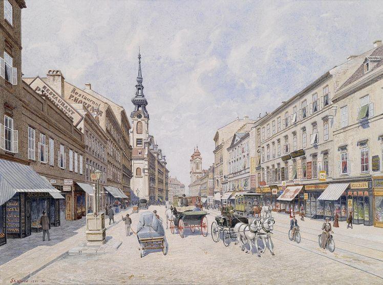 Viena a finales del siglo XIX, acuarela de Raimund von Stillfried-Rathenitz realizada entre 1893 y 1899.