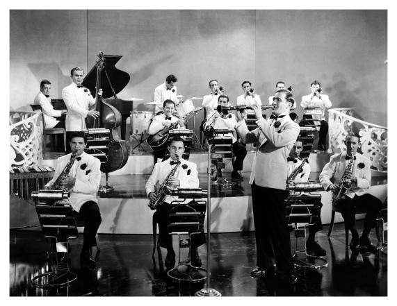 Benny Goodman y su orquesta a mediados de la década de 1930.