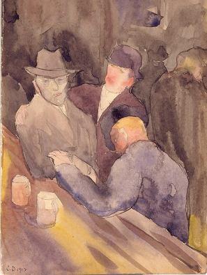 """""""Hombres en el bar"""" (1912), acuarela de Charles Demuth."""