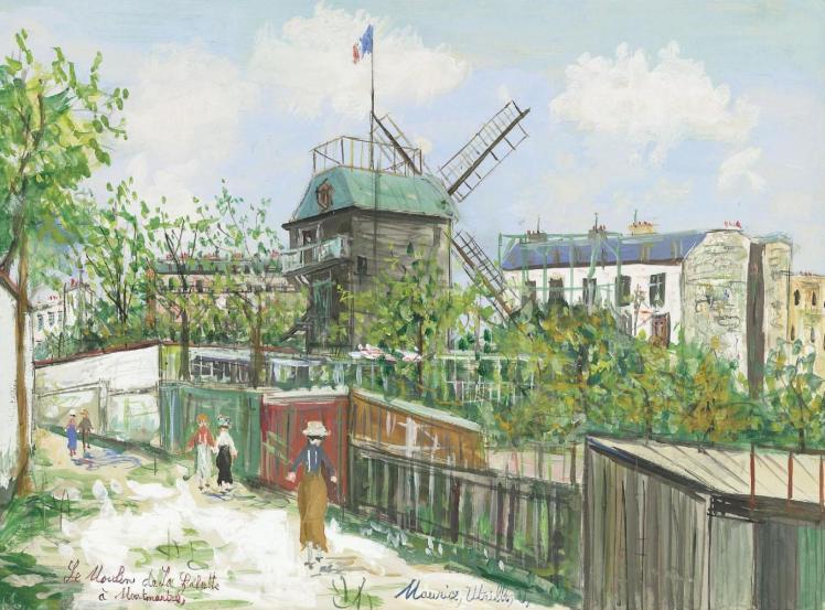 """""""El Moulin de la Galette"""" (1908), gouache de Maurice Utrillo."""