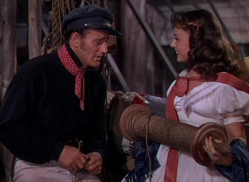 """John Wayne y Susan Hayward en """"Piratas del mar Caribe"""" (1942)"""