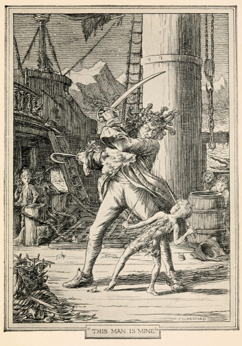 """Ilustración del capitán Hook por F.D. Bedford para la primera edición de """"Peter and Wendy"""" (1911)."""