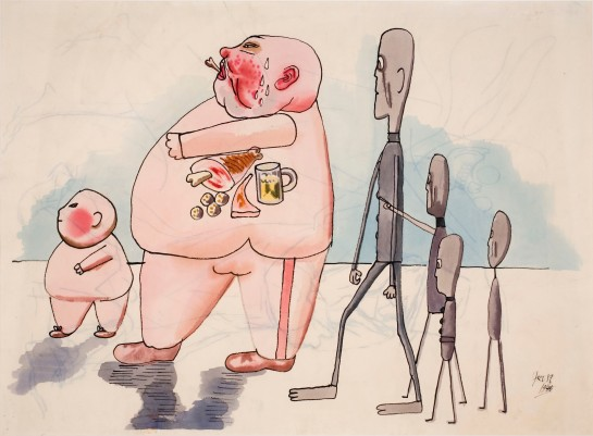 "George Grosz: ""Stickmen Meeting Members of the Bourgeois"" (1946)."