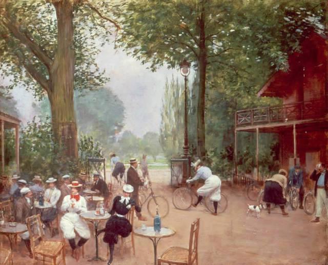 """""""Le Chalet du Cycle au Bois de Boulogne"""" (1899), óleo de Jean Béraud."""