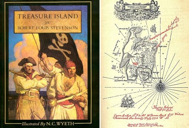 """Portada de """"La isla del tesoro"""" en su edición en Estados Unidos de 1911 y mapa de la isla en la edición británica de 1883."""