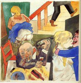 """""""Orgía"""" (1922), acuarela de George Grosz."""