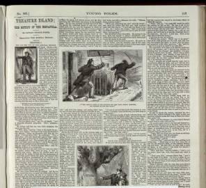 """Número de la revista """"Young folks"""" (1 de octubre de 1881) con el primer capítulo de """"La isla del tesoro""""."""