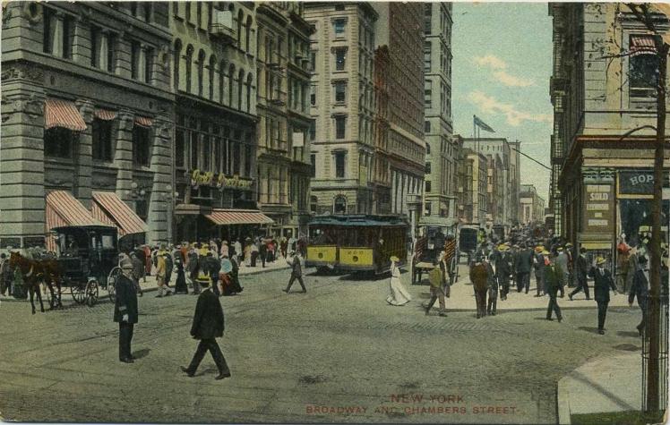 Broadway, esquina con Chambers Street, en 1930.
