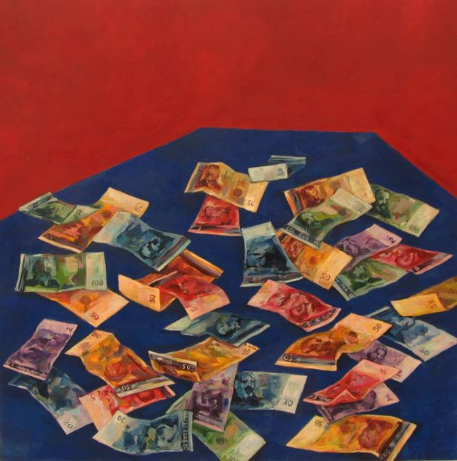 """Painting for Money"" (2012), óleo de Elena Kaludova."