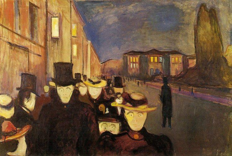 """""""Atardecer en la calle de Karl Johan"""" (1892), óleo de Edvard Munch."""