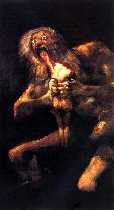 """""""Saturno devorando a un hijo"""" (1821-1823), lienzo de Francisco de Goya."""